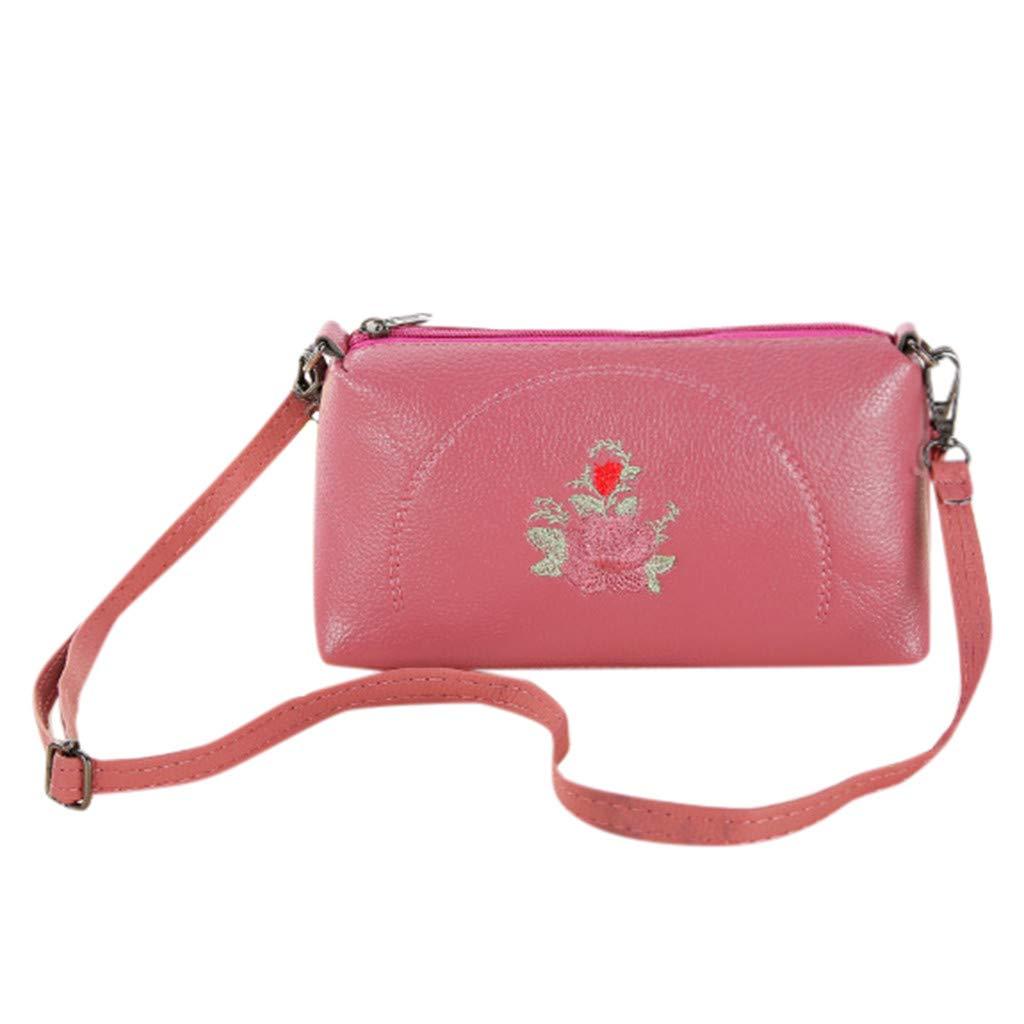 Kiminana Messenger Bags,Women's Fashion Simple Embroidery Multi-Function Zipper Shoulder Diagonal Package Pink