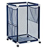 Modern Blue Pool Storage Bin - Large | Perfect Contemporary Nylon Mesh Basket Organizer For Your Goggles, Beach Balls, Floats, Swim Toys and Accessories | Air Dry Items Quickly & Easily Roll The Mesh Storage Bins To Your Home Garage or Shed