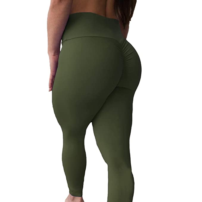 8fcb25a162945 Women s High Waisted Bottom Scrunch Leggings Ruched Yoga Pants Push up Butt  Lift Trousers Workout Army