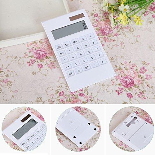 Solar-Powered Desk Calculator,Fashion Solar Energy Calculator 12-Digit Crystal Button Dual Power Source Calculator - Power Supply Calculator