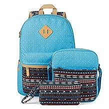 Plambag Canvas Casual Lightweight School Backpack Shoulder Bag Pen Bag
