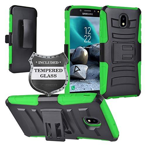 Samsung Galaxy J7 (2018), J7 Refine, J7 Star, J7 Crown, J7 Aura, J7 V J7V 2nd Gen J737 - Hybrid Armor Case w/Stand/Belt Clip Holster + Tempered Glass Screen Protector - CV1 Green