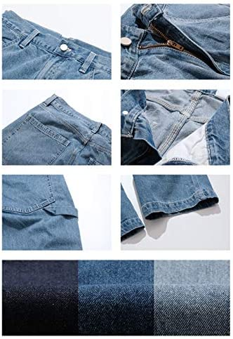 514fuRXhfjL. AC KOCHHA Men's Jeans Big Wide Pants Cotton Relaxed-Fit Carpenter Jean Denim Pants Hip Hop Blue    It can be used as a street item by loosely putting it together as a whole, and it is an item that can be worn around. Wear a shop coat or overshirt with a dull-colored Ron T or short-sleeved T-shirt for a casual look.Wear a big silhouette sweatshirt, sweatshirt, parker or check shirt for an American casual work or outdoor style. Like denim x denim, it is also recommended to match the colors of the tops and bottoms and dress in a setup style.Shoes look great with sneakers and slip-ons, as well as leather shoes like engineer boots and loafers. Excellent compatibility with small items such as caps, sacoches, body bags, and backpacks. You can wear it in unisex regardless of men's or ladies'. (Size XS has a gathered waist with rubber).The product photos are processed so that they are as close to the actual color and size as possible, but please note that the size measurement, the image quality of the PC monitor, and the light environment may differ slightly.