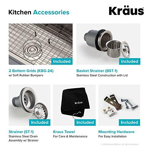 Kraus KBU24 32 inch Undermount 60/40 Double Bowl 16 gauge Stainless Steel Kitchen Sink by Kraus (Image #9)