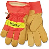 Kinco 1938 Heatkeep Lined Grain Pigskin Leather High Visibility Glove with Orange Back, Work, Large, Palomino (Pack of 6 Pairs)
