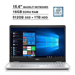 Dell Inspiron 15 5584 15.6 Inch Touchscreen FHD Laptop (Inter 4-Core i7-8565U up to 4.6GHz, 16GB DDR4 RAM, 512GB SSD (Boot) + 1TB HDD, Intel UHD 620, Backlit KB, Win 10, Silver) (Renewed)