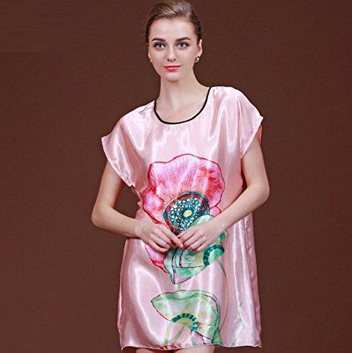 ZC&J La Sra casa de verano de ocio sueltos pijamas camisón de manga corta falda de baño atractivo sección delgada,B1,one size B5