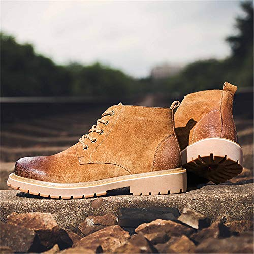 39 clásico Color Martin Zapatos Genuino Marrón Marrón EU de Boots Jusheng de diseño tamaño Cuero Hombre para HPTwnxn6f
