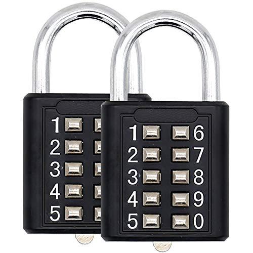 2 PCS Guard Security 10 Digit Push Button Combination Padlock, 5 Digit Locking Mechanism