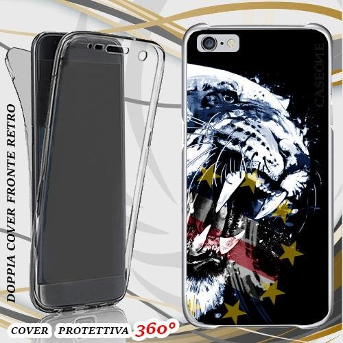 CUSTODIA COVER CASE TIGRE CAPO VERDE PER IPHONE 6 PLUS FRONT BACK