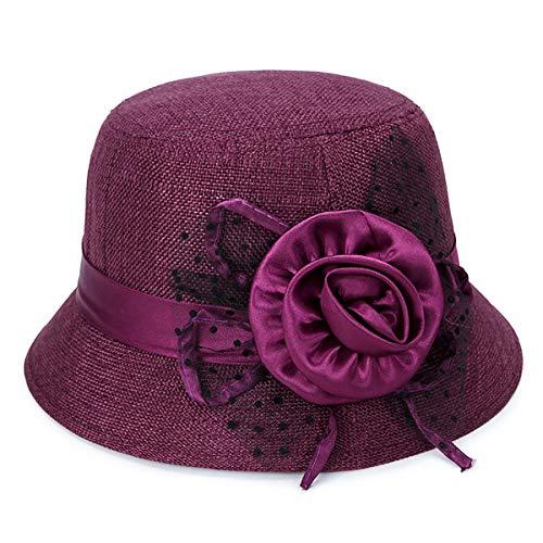 IL Caldo Women's Straw Summer hat Shading Ventilation Sun hat Fascinators (One Size, Wine red A)