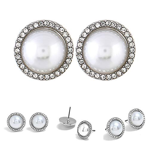 Infgreate Women Fashion Faux Pearl Rhinestone Stud Earrings Jewelry Party Cocktail Gift Beautiful And Lovely Jewelry Silver