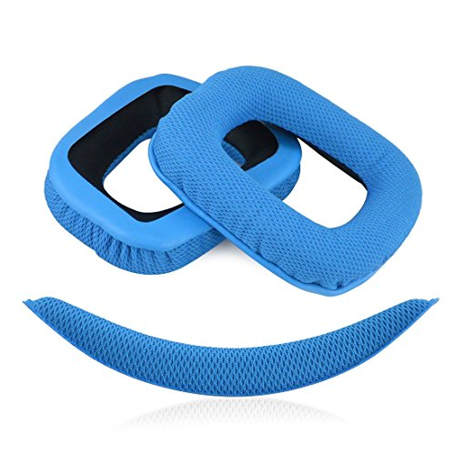 Geekria Replacement Earpads Ear Pads Cushions for Logitech G430 G930 Headphones + Replacement Headband/Cushion Pad Repair Parts (Blue)