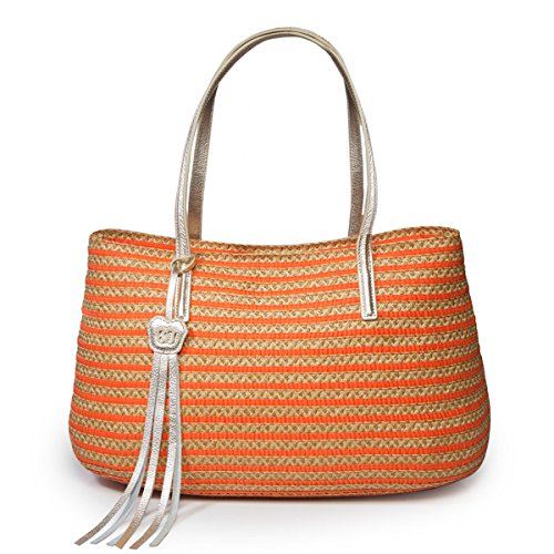 Eric Javits Stripe (Eric Javits Luxury Fashion Designer Women's Handbag - Dame Brooke - Flame Mix)