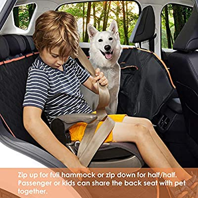 Babyltrl Pet Seat Cover, Dog Car Seat Cover with Mesh Window & Storage Pocket, 100% Waterproof & Nonslip Hammock Convertible, Scratch Proof Back Seat Cover for Cars Trucks and SUVS(Luxury)