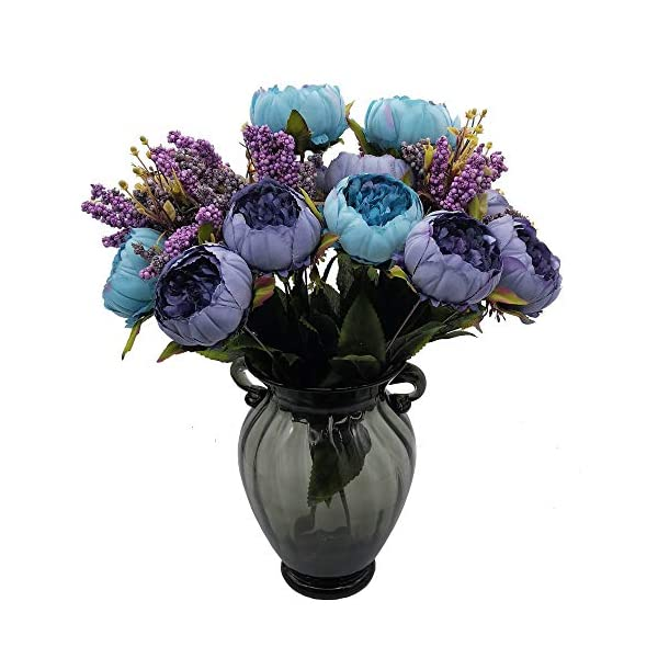 "cn-Knight Artificial Flower 2pcs 19"" Silk Peony Bouquet with 7pcs Blooms Flower Arrangement for Home Décor Housewarming Gift Wedding Bridal&Bridesmaid Office Baby Shower Centerpieces Wreath(Blue)"