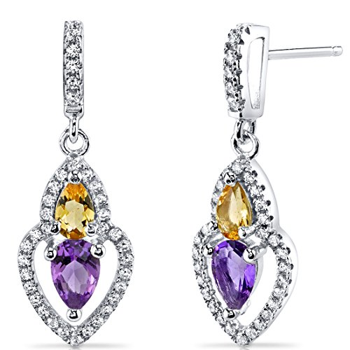 Amethyst and Citrine Earrings Sterling Silver Pear Shape 1.00 Carats (Brilliant Cut Citrine Earrings)