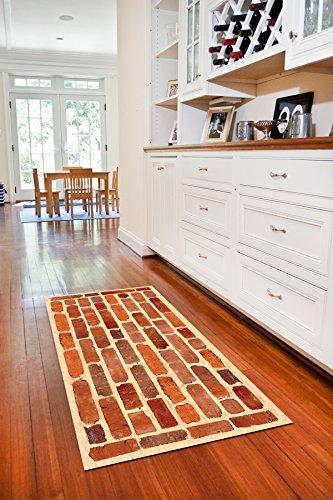 Faux Flooring Framed Brick Runner, 25 by 60-Inch, Multicolor (Brick Flooring Patio)