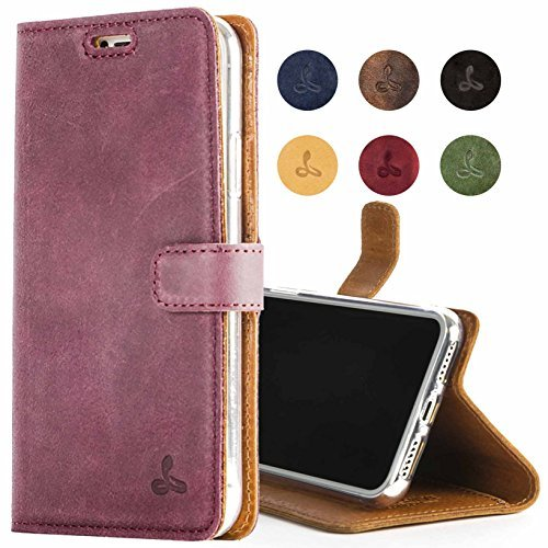 Snakehive iPhone 8 Case, Genuine Leather Wallet with Viewing Stand and Card Slots, Flip Cover Gift Boxed and Handmade in Europe for iPhone 8 - (Plum) from Snakehive