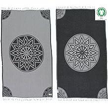 DESIGNER COLLECTION - Bersuse GOTS-Certified 100% Organic Cotton - Ionia Turkish Towel Peshtemal - Bath Beach Fouta Pestemal - 37X70 Inches, Grey/Black