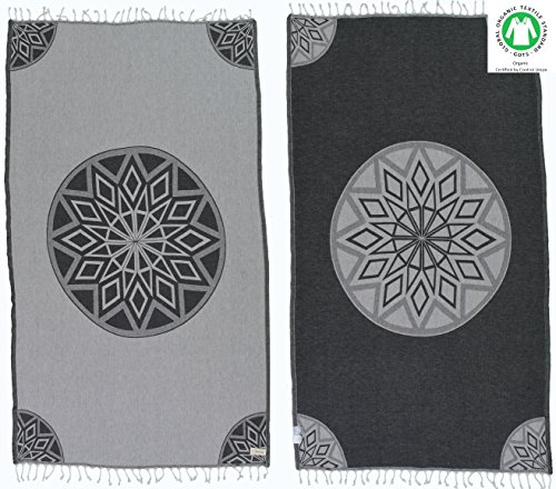 Bersuse 100% Organic Cotton Ionia Turkish Towel - 37X70 Inches, Grey/Black, 1 Piece by Bersuse