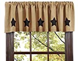 Primitive Country Stenciled Black Star on Burlap Natural Window Curtain Valance 16x72