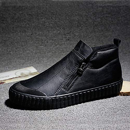LOVDRAM Stiefel Männer Herrenstiefel Casual Winter Dicke Warme Baumwolle Schuhe Baumwolle Hohe Herrenschuhe Schneestiefel Schwarze Schuhe Martin Stiefel