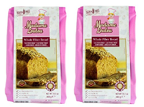 Madame Loulou Whole Fiber Gluten Free Bread MIx (celiac friendly) 14.1oz (Pack of 2) (Whole Fiber Bread Mix) (Whole Grain Bread Gluten Free)