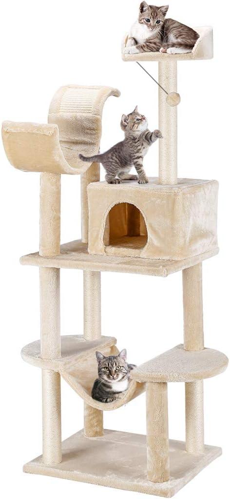 Finether Árbol Rascador para Gatos con Nidos, Juguete de Sisal Natural para Gatos con Plataformas, Color Beige: Amazon.es: Productos para mascotas