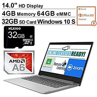 2020 Lenovo IdeaPad 14 Inch Laptop| AMD A6-9220e up to 2.4 GHz| 4GB RAM| 64GB eMMC| WiFi| Windows 10 S (1 Year Office 365 Personal Included) + NexiGo 32GB SD Card Bundle