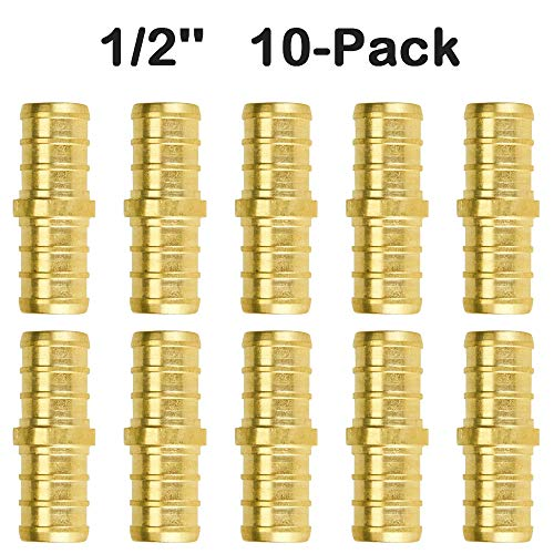 1/2 inch PEX Straight Coupling Fittings (10 Pack). Brass, lead free, compatible 1/2 PEX Fitting pipe and tubing for easy plumbing installation with Clamp or Crimp Tool