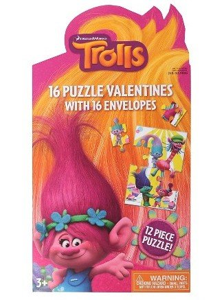 Trolls Puzzle Valentine Cards - 12-Piece Puzzles with Envelopes