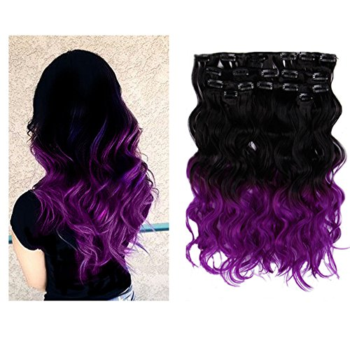Creamily(TM) Natural Black To Violet Purple For Full Head Synthetic Clip In Hair Extensions Curly Accessories 8 Pieces 18