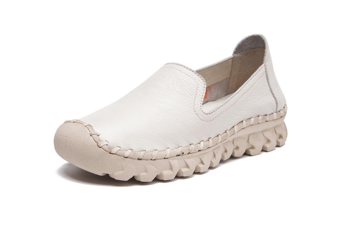 NVXIE Mujeres Señoras Nueva Ocio Moda Pisos Zapatos Únicos Soft Bottom Redonda Cabeza Boca Rasa Piel Genuina Bombas Antideslizantes Otoño Otoño Primavera Trabajo, EUR 39/UK 6-6.5 WHITE-EUR39UK665