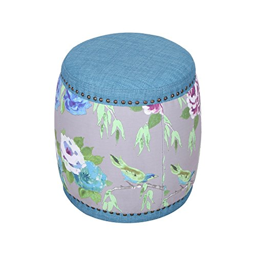 Joveco Round Brass Nailhead Colorful Flower Paint Surround Ottoman, Blue