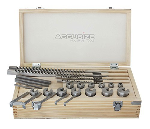 Broach Set - Accusize Industrial Tools No.70 Metric H.S.S. Keyway Broach Set, 4 mm, 5 mm, 6 mm and 8 mm Keyway Size, Style B and C, 5100-0070