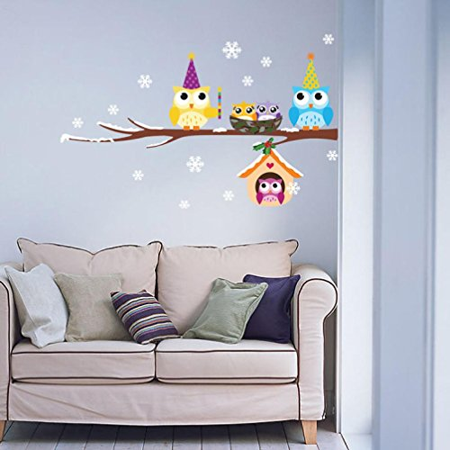 Free Christmas Decals - Ninasill Wall Stickers, ღ ღ Cute Owl Snowflake Wall Stickers Home Art Wall Sticker Decals Christmas Decor (Free, colorful)