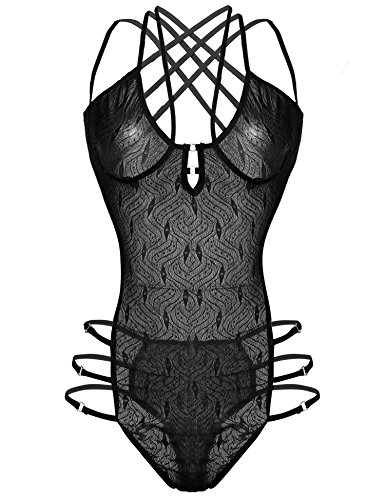 Logeri Women Lace Strappy Teddy Bodysuits Sexy One Piece Babydoll Lingerie Black