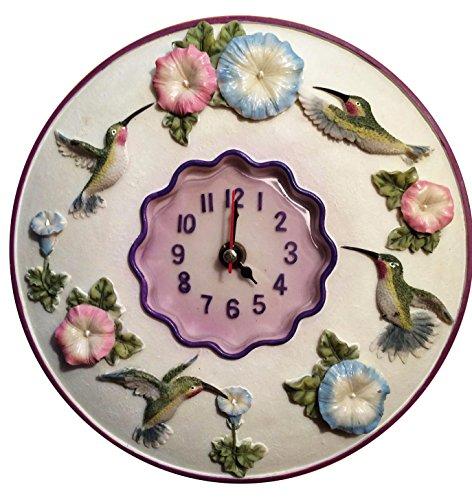 "Hummingbird Clock, 8"" Round, 3D Polystone- Hummingbird Wall Decor For Kitchen, Nursery, Bedroom, Patio, Bathroom, Office Hummingbird Decoration - Best Hummingbird Gift Idea, Hummingbird Decoration, Home Decor. (Patio Decoration Ideas)"