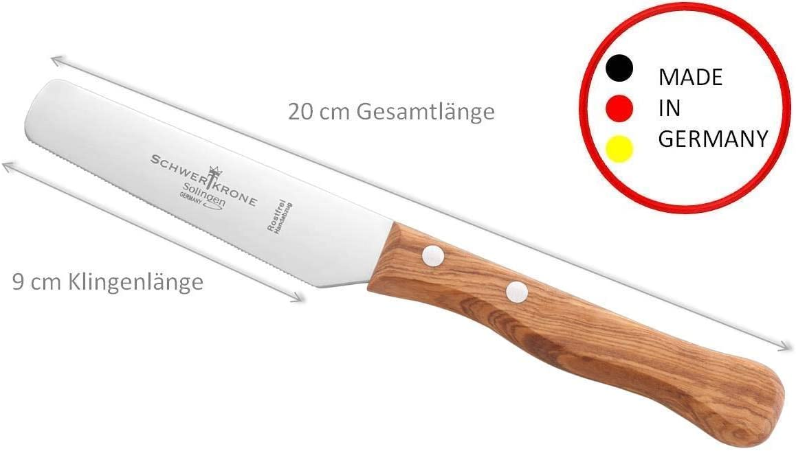 Schwertkrone Fr/ühst/ücksmesser Holzgriff Olivenholz Holzgriff Solingen Germany Br/ötchenmesser Buttermesser mit Wellenschliff