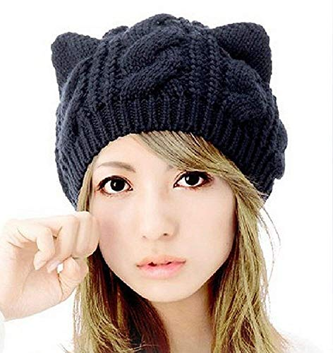 Amersin Cute Woollike Knitted CAT Kitty Ears Women Lady Girl Headgear Crochet Hats (Black)