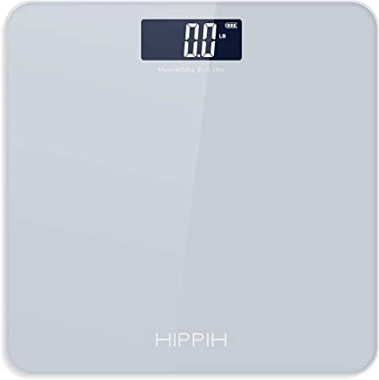 Amazon Com Body Weight Scale For People Hippih Battery Powered Digital Bathroom Scale With Round Corner 11x11 In Precise Grey Body Scale With Step On Technology Large Blacklit Display 400 Pounds Max Industrial Scientific