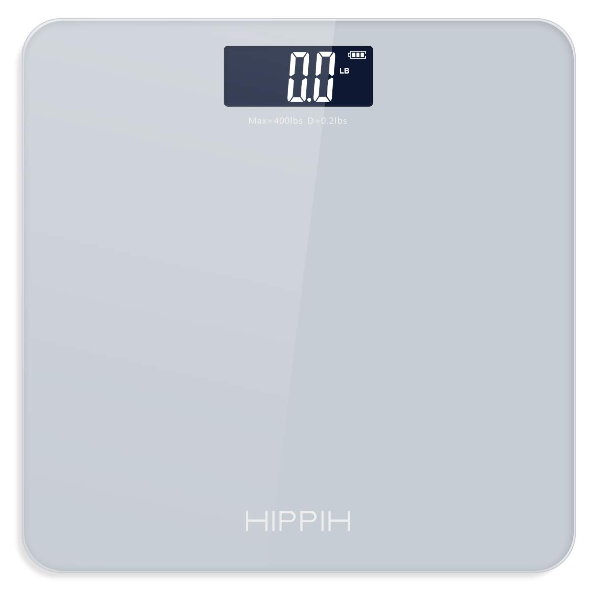 Digital Body Weight Scale, HIPPIH High Accuracy Battery-Powered Bathroom Scale with Step-On Technology, Large Blacklit Display, High Precision Measurements, 400 Pounds, Grey