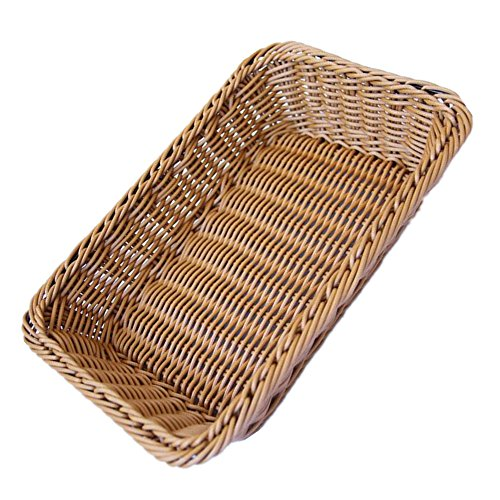 Poly Basket - Poly-wicker Tabletop Serving Baskets Brown Set of 2