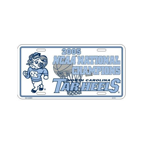 North Carolina Tar Heels (UNC) 2005 National Champions White Metal License Plate 2005 North Carolina Tar Heels