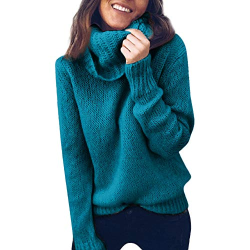 ANJUNIE_coats Turtleneck Knitted Pullover Women Solid Long Sleeve Sweater Casual Jumper Top Blouse (Green,L)