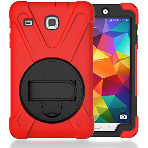 TIMISAM Samsung Galaxy Tab E 8.0 Case, Heavy Duty Hybrid Shockproof Protection Cover Built with Kickstand and Hand Strap