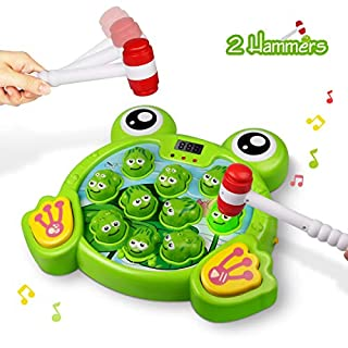 Lydaz Whack A Frog Game for Kids, Developmental Interactive Pounding Toys with Music Lights - Toddlers Fine Motor Skill STEM Toys for Boys Girls 2 3 4 5 6 Years Old