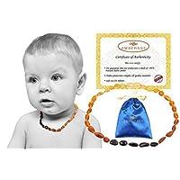 Collares para la dentición del bebé de ámbar báltico (Unisex) Propiedades antiinflamatorias, de babeo y de dolor para la dentición, granos de frijoles crudos certificados (arco iris), calidad garantizada