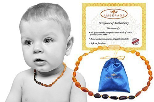Baltic Amber Baby Teething Necklaces (Unisex) Anti Flammatory, Drooling & Teething Pain Reduce Properties, Certificated Raw Beans Beads( rainbow), Quality Guaranteed